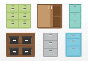 Ensemble d'armoires de fichiers vecteur