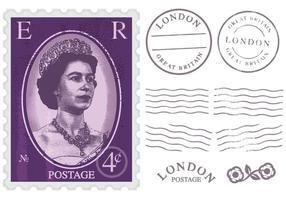 Timbre-poste de la Reine Elizabeth vecteur