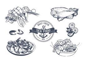 Set de vecteur de fruits de mer