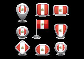 Icône du drapeau péruvien vecteur