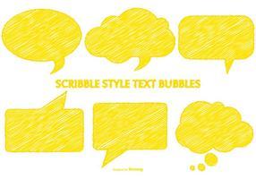 Bulles de discours jaunes de style griffonnant vecteur