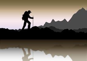 Silhouette du paysage alpiniste vecteur