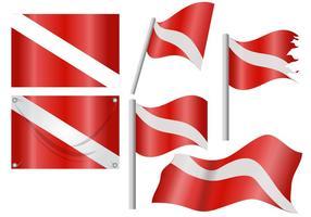 Icône de drapeau de plongée vecteur
