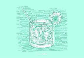 Vodka tonic line drawing vector