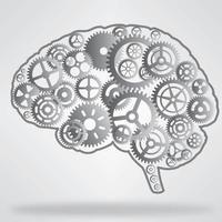roues dentées en forme de cerveau métalliques vecteur