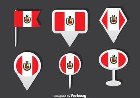 Ensemble vectoriel de drapeau péruvien