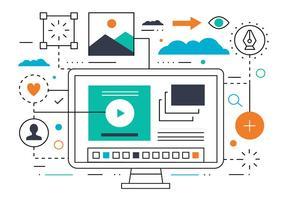 Vector Flat Line Business et Marketing Vector Illustration