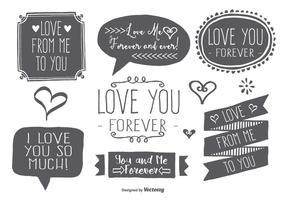 Ensemble d'étiquettes d'amour à la main dessiné vecteur