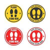 badges d'icône de distanciation sociale vecteur