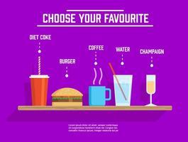 Différentes boissons et aliments vectoriels gratuits