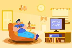homme jouant au jeu vidéo vecteur