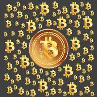 motif doré bitcoin vecteur
