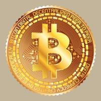 bitcoin doré métallique vecteur