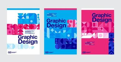 modèles de mise en page de conception graphique bleu, rose et blanc