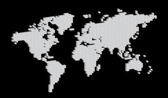 carte du monde carré noir et blanc isométrique