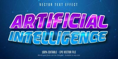 effet de texte modifiable de l'intelligence artificielle courbe brillant