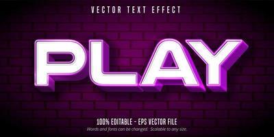 jouer un effet de texte modifiable blanc et violet vecteur