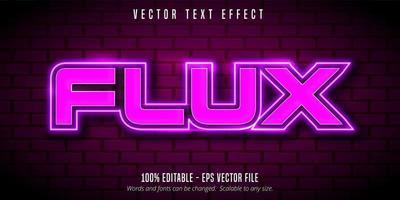 effet de texte modifiable style néon violet flux