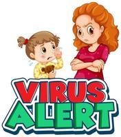 femme en colère et fille qui pleure avec texte d'alerte de virus vecteur