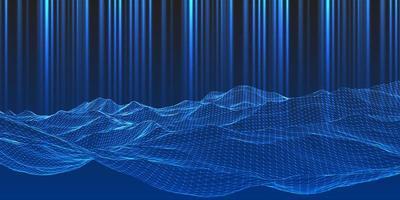 paysage de cadre de fil bleu moderne avec des faisceaux lumineux