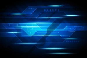 circuit électronique futuriste et conception de faisceau de lumière bleue