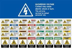 ensemble de panneaux électriques de tension ou de brûlure dangereux