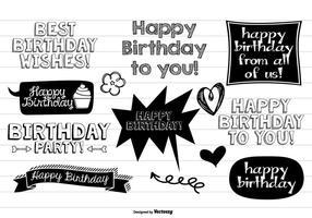 Ensemble de doodle de joyeux anniversaire