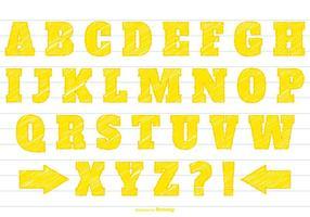 Ensemble alphabet de griffonnage jaune vecteur