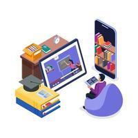 étudiant regardant des cours en ligne vecteur