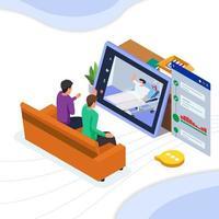 patient rencontre avec ses amis en ligne vecteur