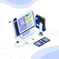 docteur, vérification, patient, information, ordinateur vecteur