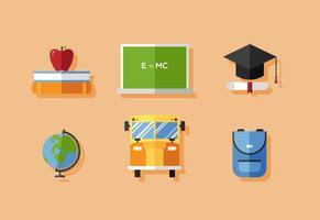 Ensemble d'icônes de l'école vectorielle