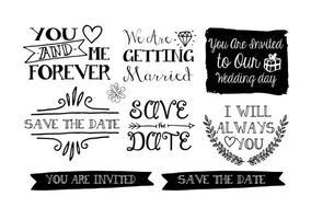Étiquettes de mariage à la main dessinées vecteur