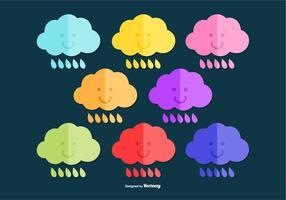 Vecteurs de nuages de pluie colorés