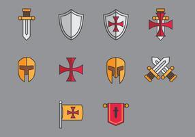 Vecteurs d'icônes Templiers vecteur