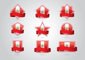 Ensemble vectoriel de drapeau pour le Pérou