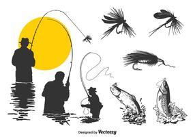 Ensemble de vecteur de pêche à la mouche gratuit