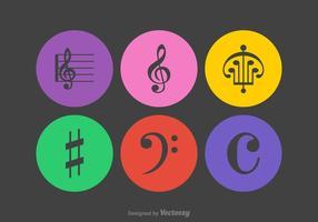 Icônes de vecteur de notes musicales gratuites