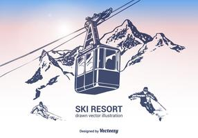 Illustration vectorielle gratuite de station de ski