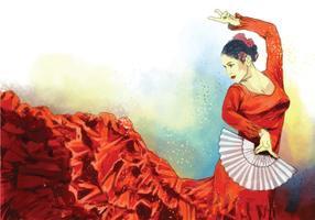 Danseuse espagnole vectorielle avec fan vecteur