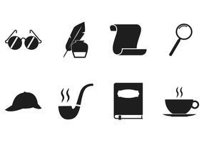 Ensemble d'icônes de détective vecteur