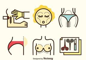 Ensemble d'icônes de chirurgie plastique vecteur