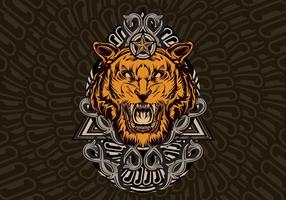 Affiche vintage de tigre vecteur