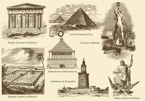 Les sept merveilles du monde vecteur