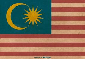 Drapeau du style grunge de la Malaisie vecteur