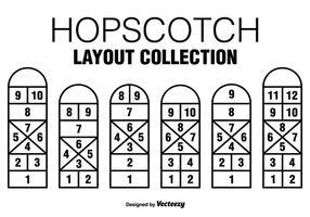 Six icônes de jeu Black Hopscotch vecteur