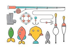 Ensemble vectoriel d'outils de pêche
