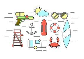 Ensemble vectoriel d'icônes d'été