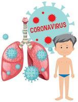 homme malade et cellules dans les poumons