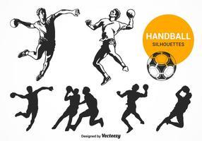 Vecteur gratuit de silhouettes de handball
